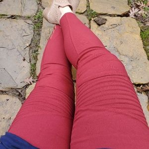 New Mix moto jean biker legging burgundy red